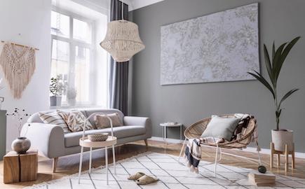 Modern,Boho,Interior,Design,Of,Living,Room,With,Design,Rattan